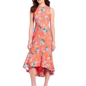 Calvin Klein Hi-Low Ruffle Hem Sheath Dress 8 v612